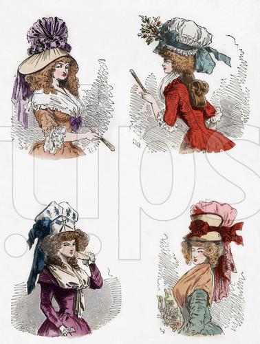 """De gauche a droite en haut un chapeau bateau renverse en 1788 et en deuil un bonnet au globe en aout 1789 en bas un bonnet aux trois ordres reunis en septembre 1789 et en demi deuil un chapeau a soufflet en 1789 gravure tiree du livre """"Paris a travers les siecles"""" tomeVI , 1878"""