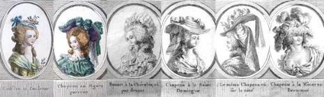 Coiffure au Consiteor - Chapeau au Figaro parvenu - Bonnet à la Chérubin, vu par devant - Chapeau à la Saint Domingue – Le même chapeau vu sur le côté – Chapeau à la Minerve Bretonne.