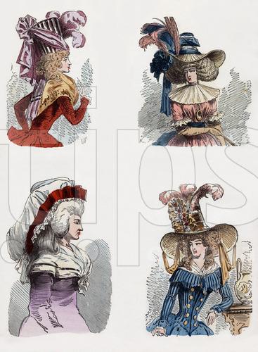 """Descrizione: De gauche a droite en haut un bonnet turban et un chapeau a la chinoise en bas un bonnet du matin et un chapeau a la tartare en 1787 gravure tiree du livre """"Paris a travers les siecles"""" tomeVI , 1878"""
