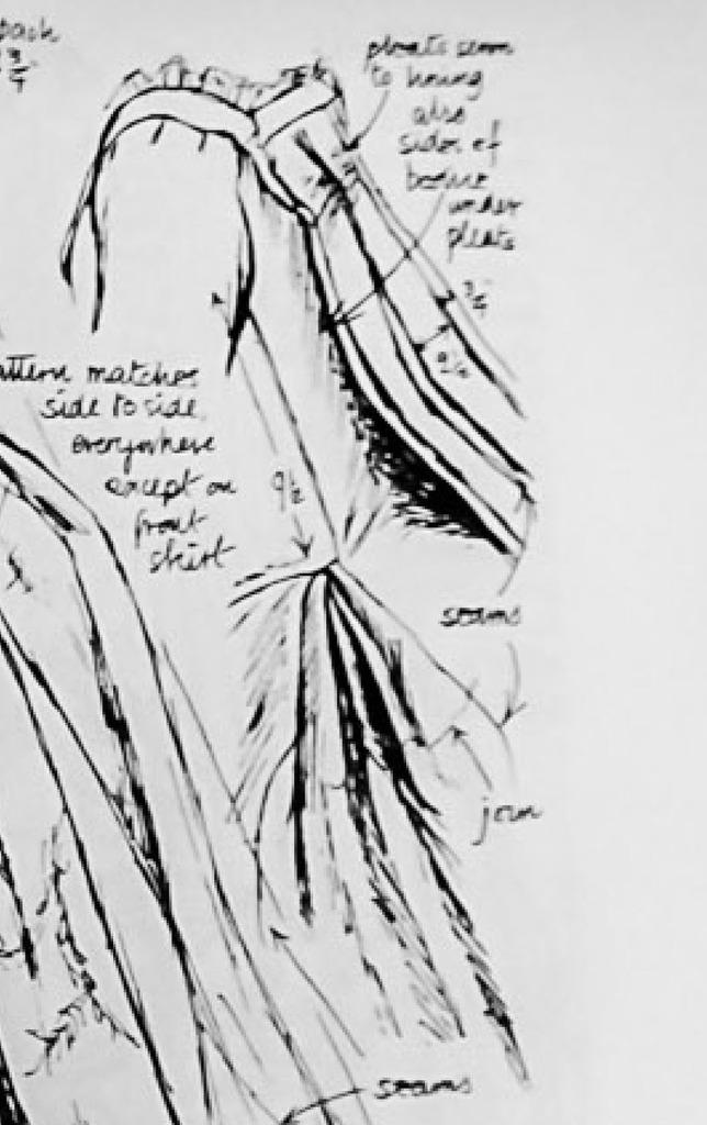Projet robe à la française: le manteau le système de serrage des plis du dos