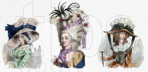 """De gauche a droite Bonnet de la mariniere en 1787 un grande coiffure en 1785 et un chapeau bonnette en 1786 gravure tiree du livre """"Paris a travers les siecles"""" tomeVI , 1878"""