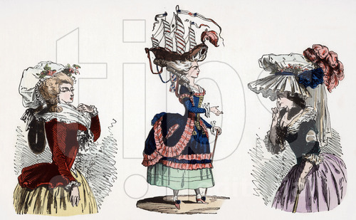 """De gauche a droite un deshabille du matin appele Pierrot en 1787 une coiffure a la belle poule en 1780 un chapeau coiffure bonnette une robe a la turque grande parure en 1786 gravure tiree du livre """"Paris a travers les siecles"""" tomeVI , 1878"""