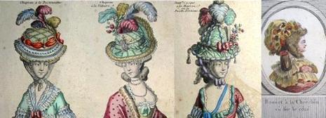 Chapeau à la Bostonienne - Chapeau à la Voltaire - Nouveau Casque à la Minerve ou la Pucelle d'Orléans - Bonnet à la Chérubin, vu sur le côté <a class=