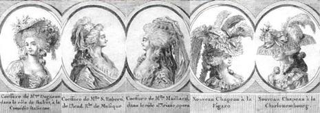 Coiffure de Mme Dugason dans le rôle de Babet, à la Comédie Italienne – Coiffure de Mlle S <a class=