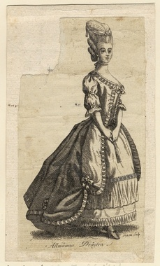 The original feminine version of the costume, from 1780
